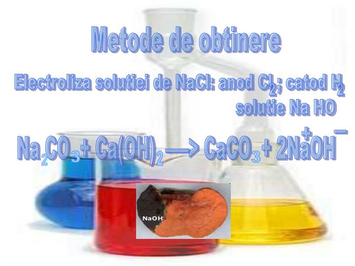 Electroliza solutiei de NaCl: anod Cl ; catod H