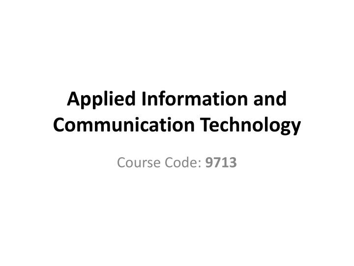 applied information and communication technology n.
