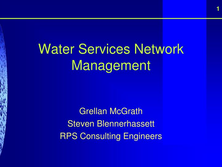 water services network management n.