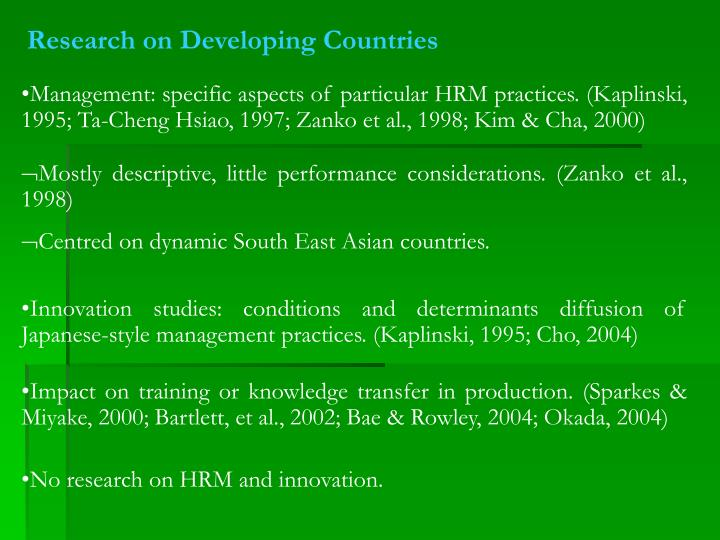 Research on Developing Countries