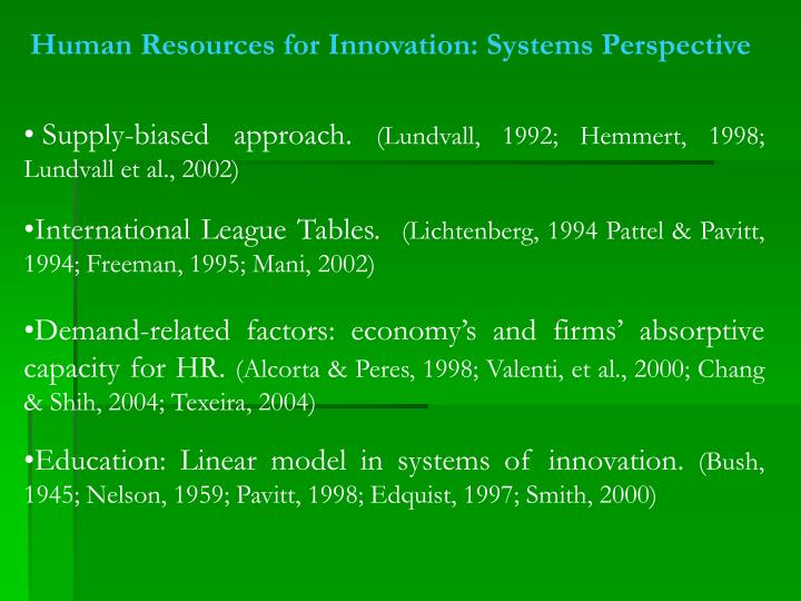 Human Resources for Innovation: Systems Perspective