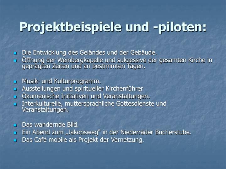 Projektbeispiele und -piloten: