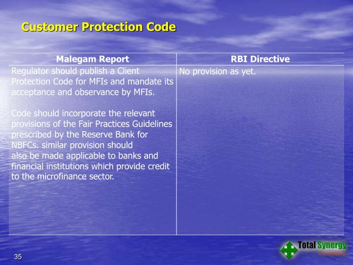 Customer Protection Code