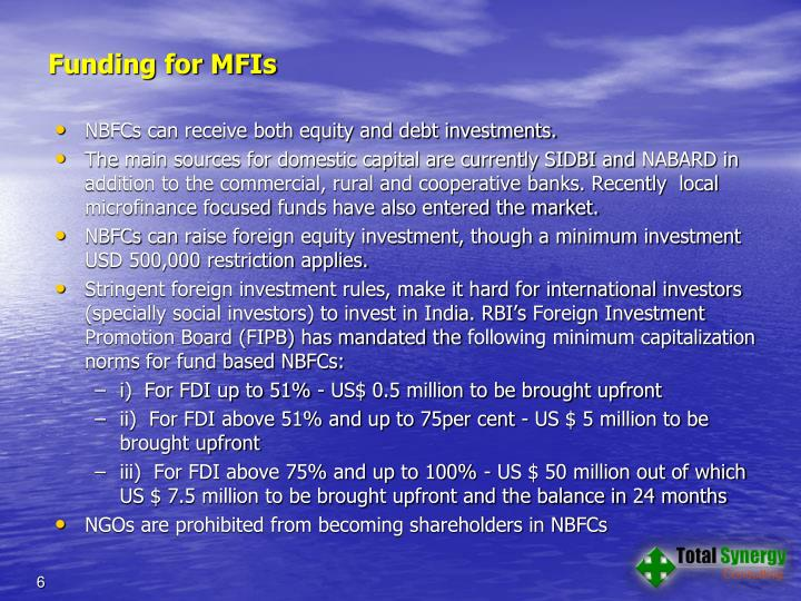 Funding for MFIs