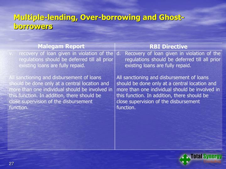Multiple-lending, Over-borrowing and Ghost-borrowers