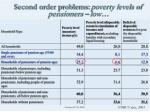 second order problems poverty levels of pensioners low