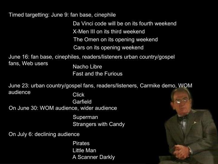Timed targetting: June 9: fan base, cinephile