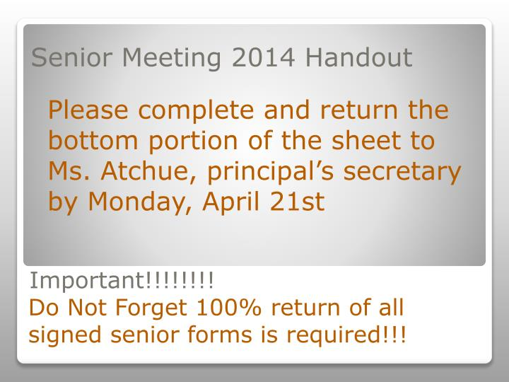 Senior Meeting 2014 Handout
