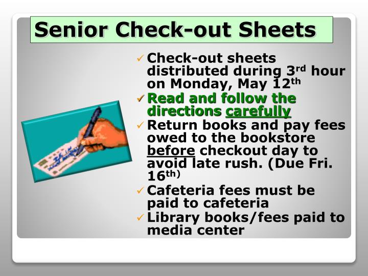 Senior Check-out Sheets