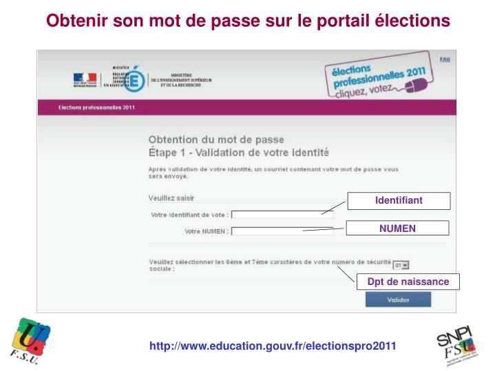 Obtenir son mot de passe sur le portail élections