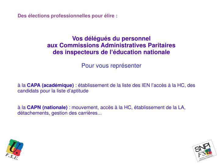 Des élections professionnelles pour élire :