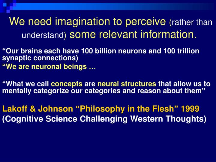 We need imagination to perceive rather than understand some relevant information