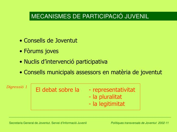 MECANISMES DE PARTICIPACIÓ JUVENIL
