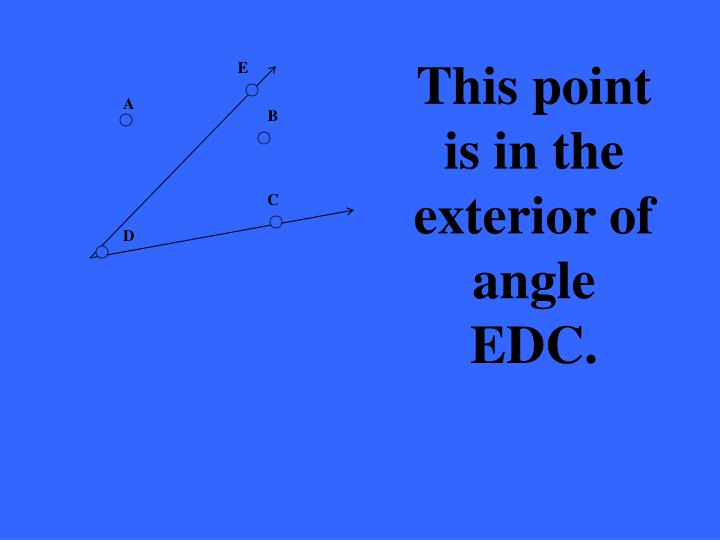 This point is in the exterior of angle EDC.