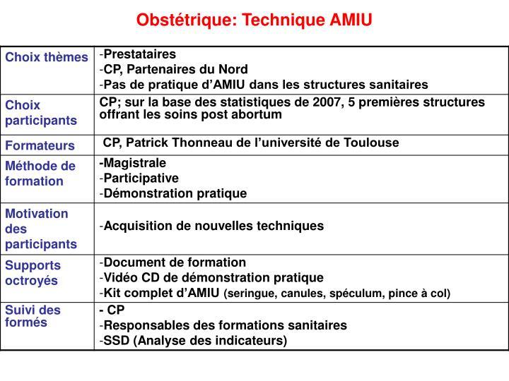 Obstétrique: Technique AMIU