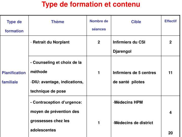 Type de formation et contenu1