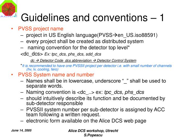 Guidelines and conventions – 1