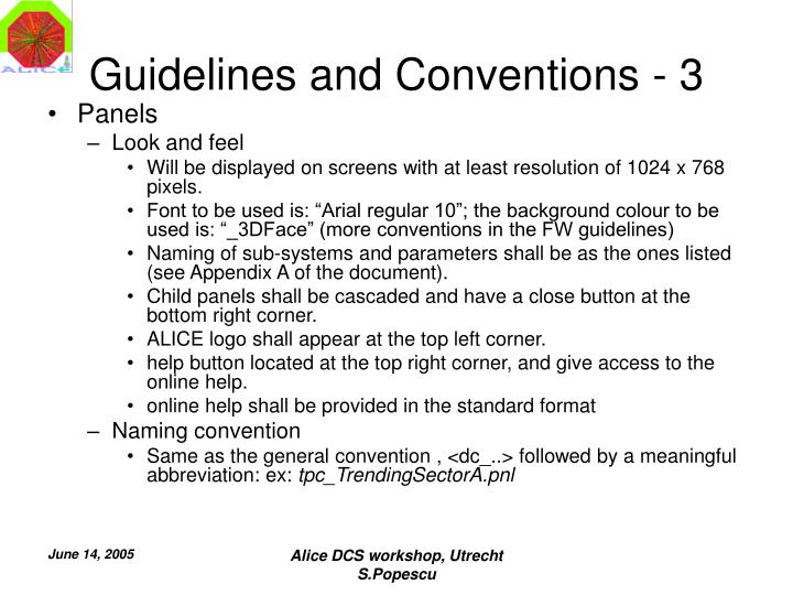 Guidelines and Conventions - 3