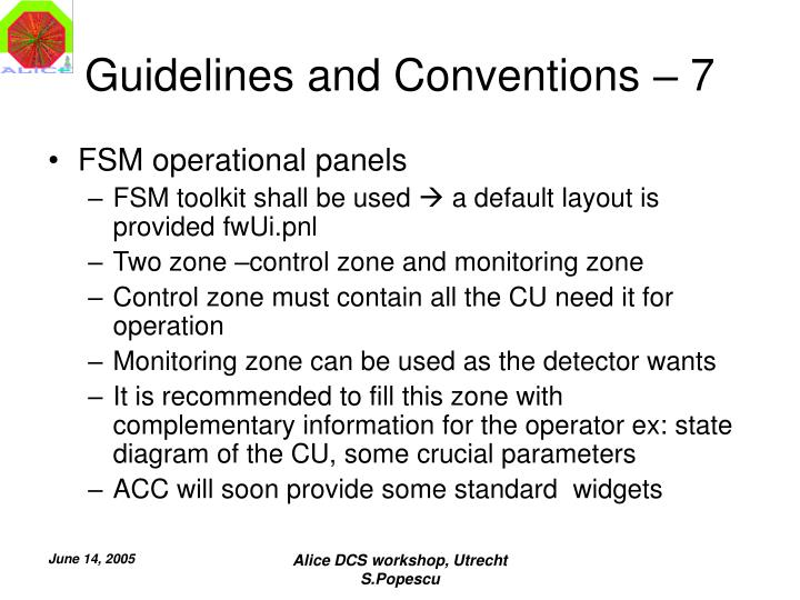 Guidelines and Conventions – 7