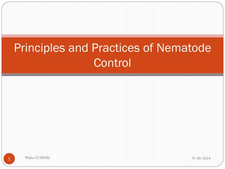 principles and practices of nematode control n.