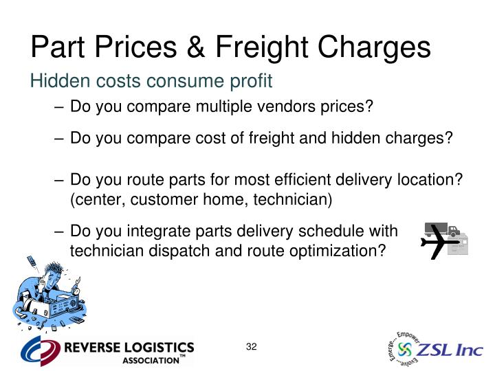 Part Prices & Freight Charges