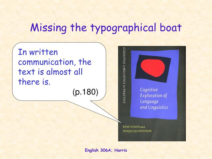 Missing the typographical boat