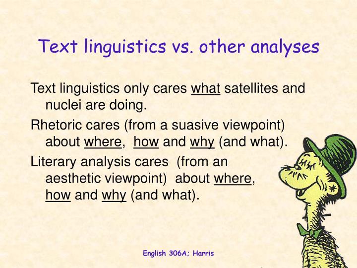 Text linguistics vs. other analyses