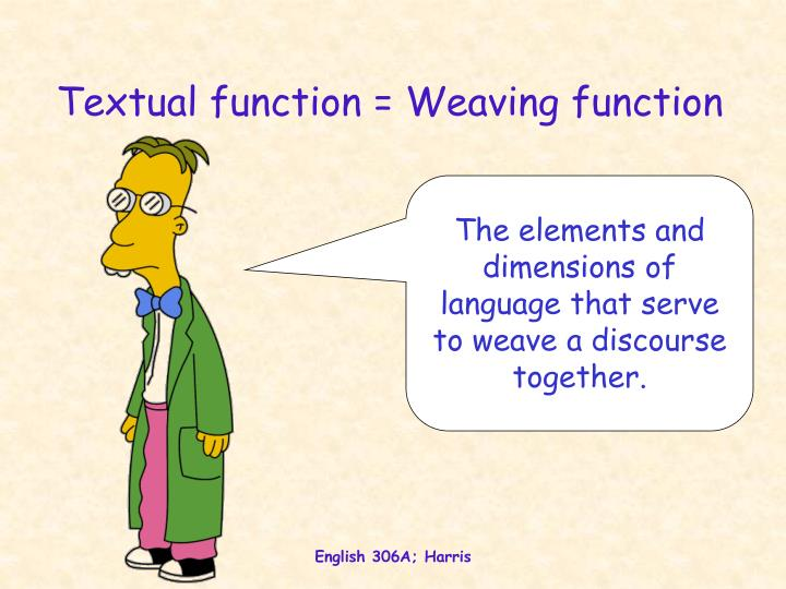 Textual function = Weaving function