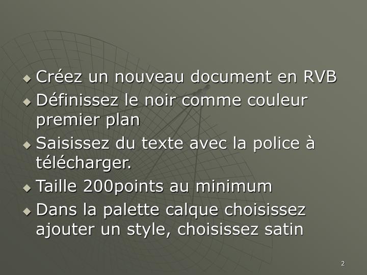 Créez un nouveau document en RVB