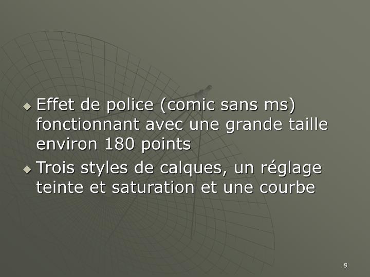 Effet de police (comic sans ms) fonctionnant avec une grande taille environ 180 points