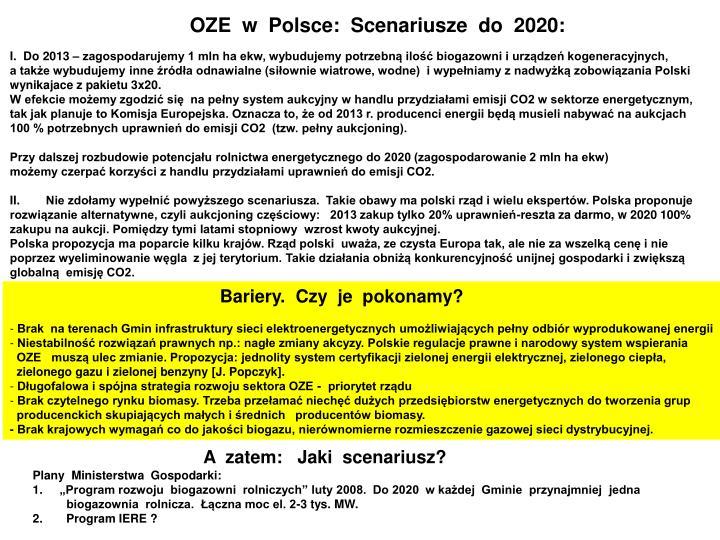 OZE  w  Polsce:  Scenariusze  do  2020: