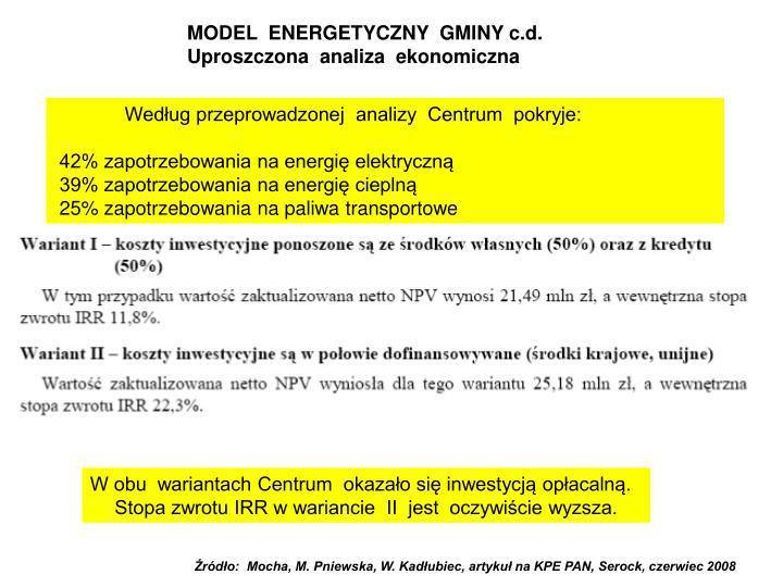 MODEL  ENERGETYCZNY  GMINY c.d.