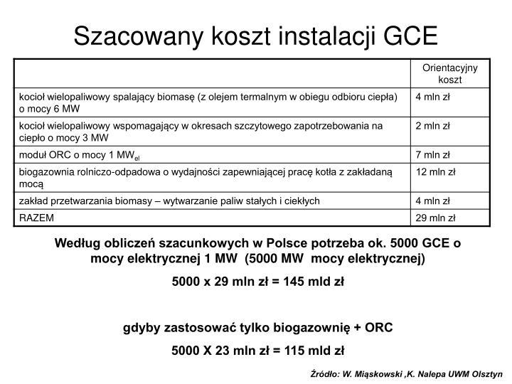 Szacowany koszt instalacji GCE