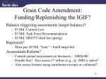 grain code amendment funding replenishing the igif