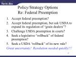 policy strategy options re federal preemption