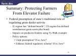 summary protecting farmers from elevator failure
