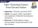 topic protecting farmers from elevator failure