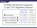 ty walk total payout comparison il and usda regulatory schemes