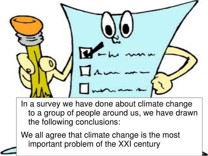 In a survey we have done about climate change to a group of people around us, we have drawn the foll...