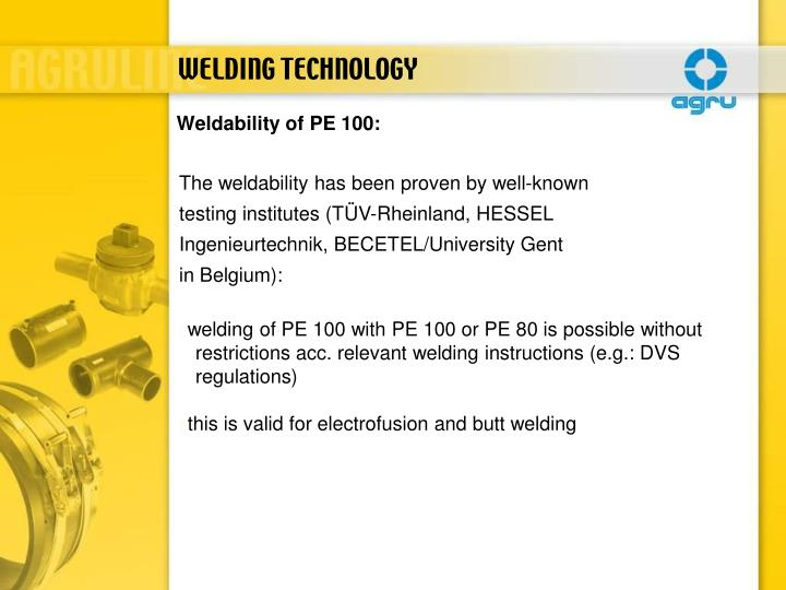 Weldability of PE 100: