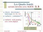 les quarks lourds saveurs ouvertes avec alice d b1