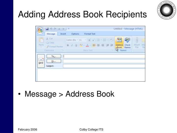 Adding Address Book Recipients