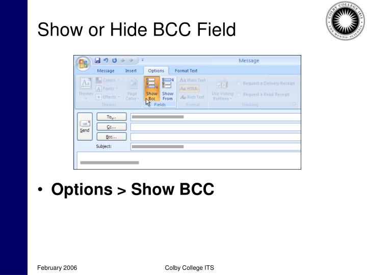 Show or Hide BCC Field