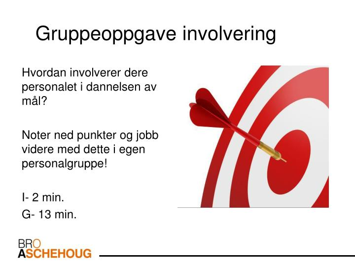 Gruppeoppgave involvering