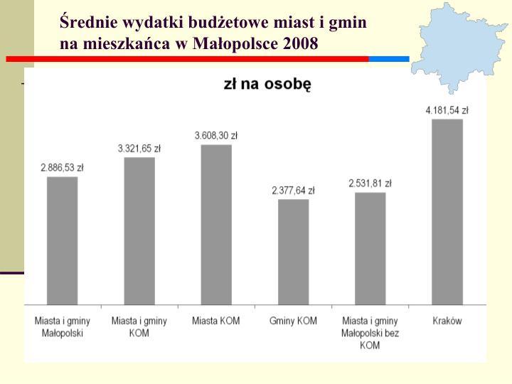 Średnie wydatki budżetowe miast i gmin