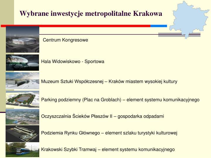 Wybrane inwestycje metropolitalne Krakowa