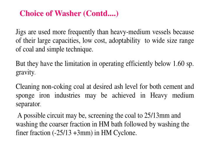 Choice of Washer (Contd....)