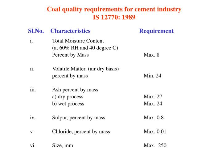 Coal quality requirements for cement industry