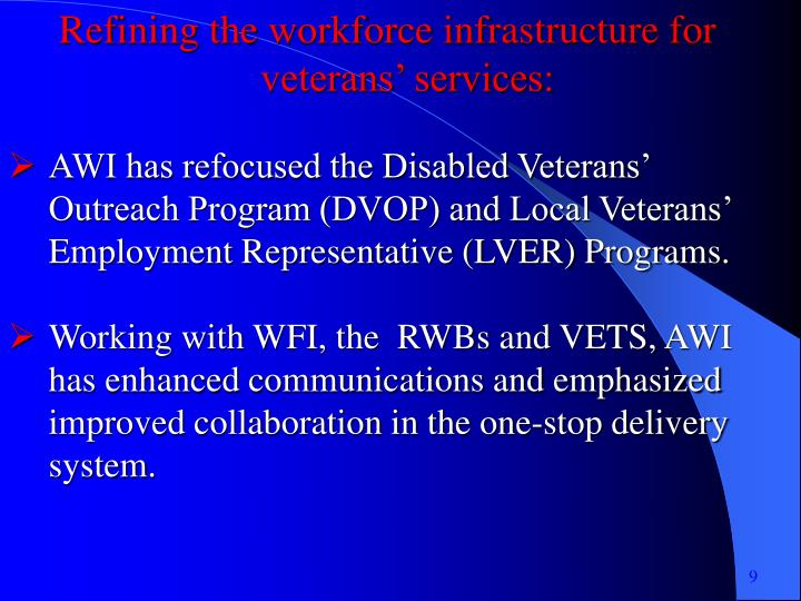 Refining the workforce infrastructure for veterans' services: