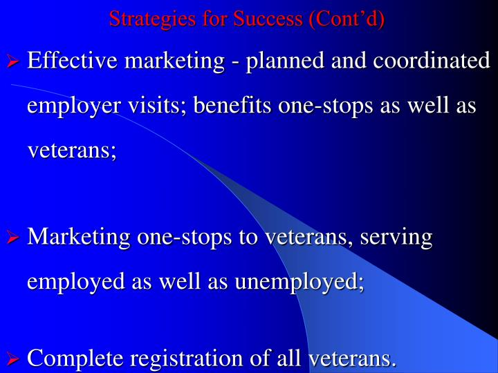 Strategies for Success (Cont'd)